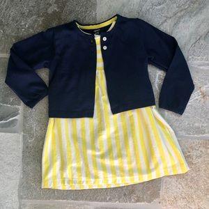Carter's Dresses - Carter's yellow striped dress & navy cardigan set